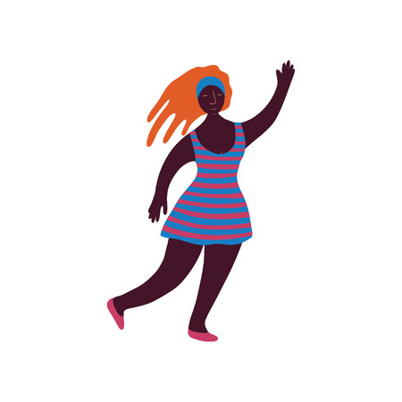 Young African Woman with Dreadlocks Wearing Short Dress Standing and Holding Up Her Hand Vector Illustration on White Background. Illustration