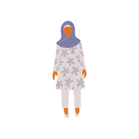 Muslim Woman Wearing Headscarf Hijab Vector Illustration 向量圖像