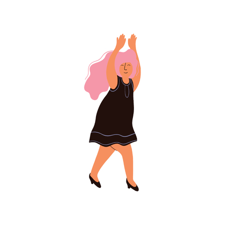 Young Woman With Long Pink Hair Wearing Black Dress Vector Illustration on White Background. Illusztráció