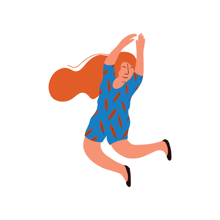Young Happy Woman With Long Red Hair Wearing Blue Dress Vector Illustration on White Background. Foto de archivo - 125788210