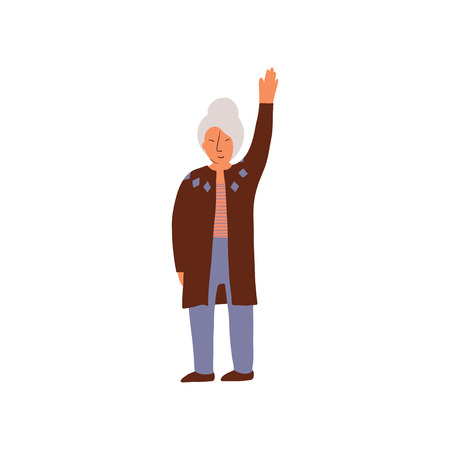 Elderly Woman Standing and Holding Up Her Hand Vector Illustration on White Background.