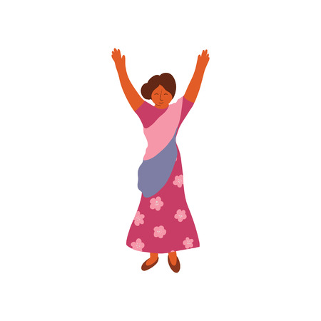 Indian Woman Wearing Traditional Saree Standing with Her Hands Raised Vector Illustration on White Background.  イラスト・ベクター素材