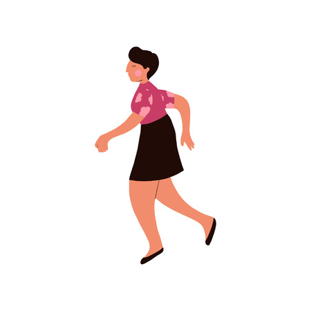 Brunette Woman With Short Hair and Casual Clothes Running Vector Illustration