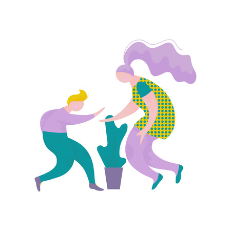 Young Man and Woman Giving High Five to Each Other, Human Interaction, Friendship, Teamwork, Cooperation Vector Illustration on White Background.