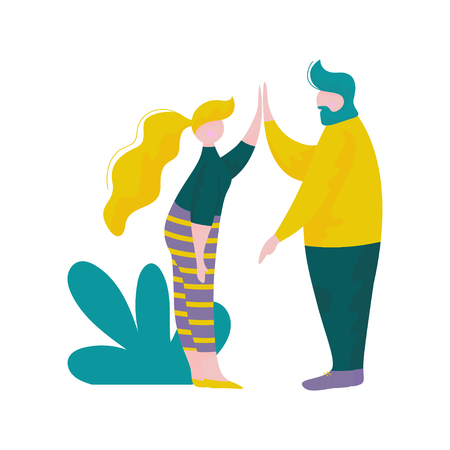 Young Man and Woman Giving High Five to Each Other, Male and Female Characters Having Fun Outdoors, Human Interaction, Friendship, Teamwork, Cooperation Vector Illustration on White Background.