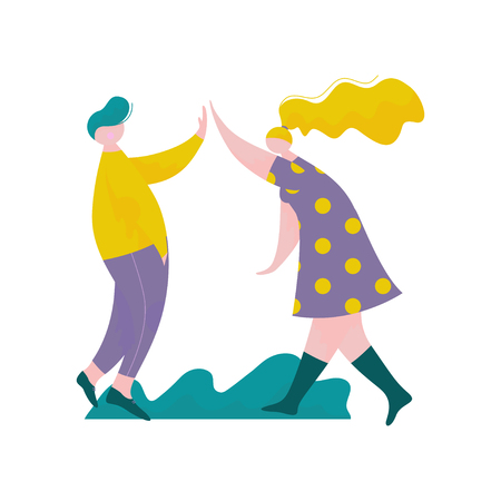 Young Man and Woman Giving High Five to Each Other, Male and Female Characters Having Fun, Human Interaction, Friendship, Teamwork, Cooperation Vector Illustration on White Background. Banque d'images - 125788227