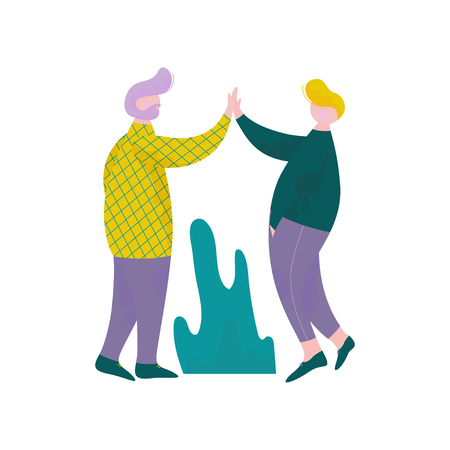 Two Guys Giving High Five to Each Other, Male Characters Having Fun, Human Interaction, Friendship, Teamwork, Cooperation Vector Illustration on White Background.