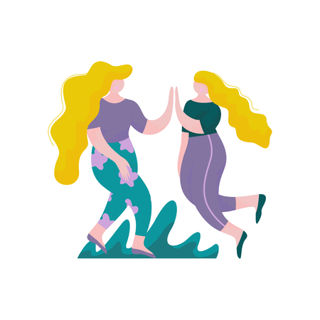 Two Beautiful Plump Girls With Long Hairs Jumping and Giving High Five to Each Other, Female Characters Having Fun, Human Interaction, Friendship, Teamwork, Cooperation Vector Illustration on White Background. Foto de archivo - 116084873