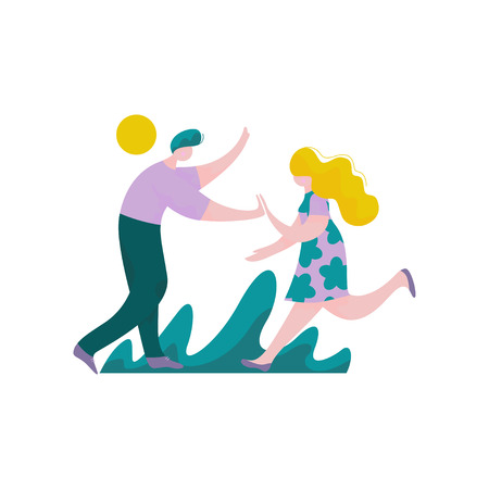 Happy Young Man and Woman Giving High Five to Each Other, Male and Female Characters Having Fun, Human Interaction, Friendship, Teamwork, Cooperation Vector Illustration on White Background. Banque d'images - 125788231