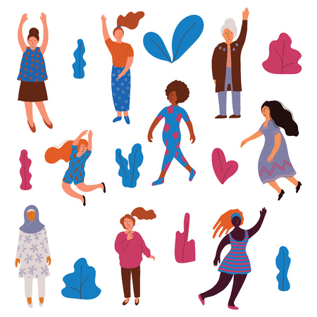 Collection of Women of Different Appearance, Nationality, Age, Women Dressed in Casual and Traditional Clothes in Different Poses Vector Illustration on White Background. Illusztráció