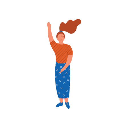 Young Woman Wearing Blouse and Long Skirt Standing with Her Hand Raised Vector Illustration on White Background. Illustration