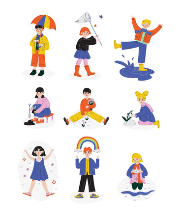Kids Spring or Summer Outdoor Activities set, Happy hildhood Vector Illustration Isolated on White Background. Ilustración de vector