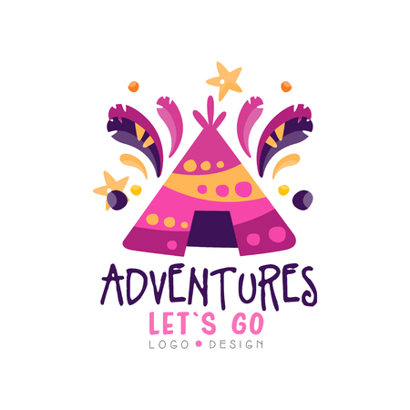 Adventures, lets go design, summer vacation, travel time, weekend tour, tourist agency creative label vector Illustration