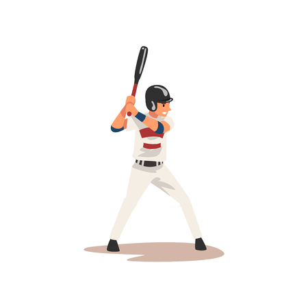 Baseball Player Swinging Bat Hitting Ball, Softball Athlete Character in Uniform Vector Illustration on White Background