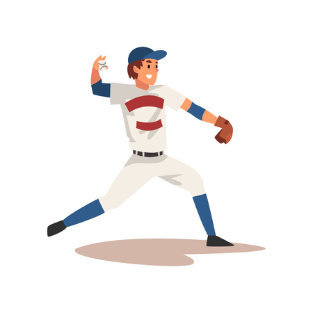 Smiling Baseball Player Throwing Ball, Softball Athlete Character in Uniform, Side View Vector Illustration on White Background Illustration
