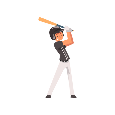Baseball Player Hitting Ball with Baseball Bat, Softball Athlete Character in Uniform Vector Illustration on White Background