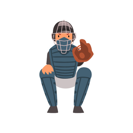 Catcher Waiting for Ball, Baseball Player Character in Uniform and Helmet Vector Illustration on White Background