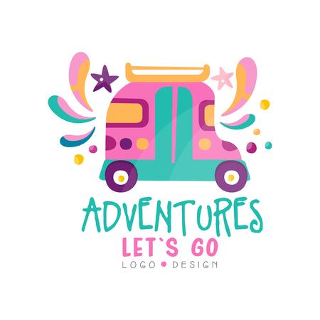 Abenteuer, loslassen, Design, Sommerurlaub, Reisezeit, Wochenendtour kreativer Etikettenvektor Illustration