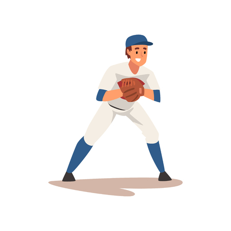 Catcher Waiting for Ball, Baseball Player Character in Uniform Vector Illustration on White Background