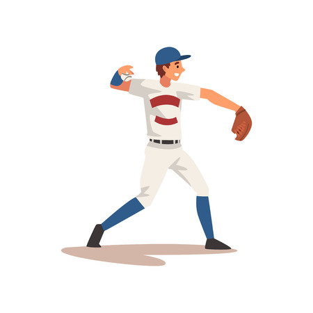 Pitcher Throwing Ball, Baseball Player Character in Uniform Vector Illustration on White Background