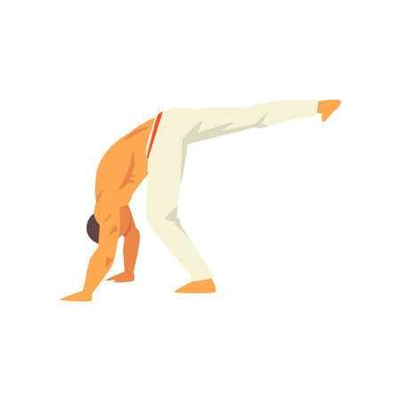 Male Capoeira Dancer Character, Brazilian National Martial Art Vector Illustration on White Background