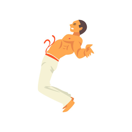Male Capoeira Dancer Fighter Character Practicing Movement, Man Leaning Back, Brazilian National Struggle Vector Illustration on White Background