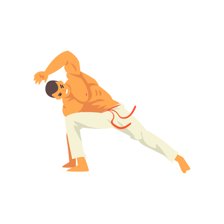 Smiling Male Capoeira Dancer Character Practicing Movement, Brazilian National Struggle Vector Illustration on White Background