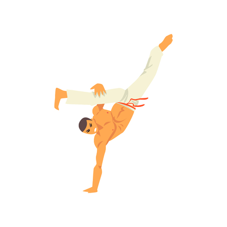 Man Standing on One Hand, Capoeira Dancer Character Practicing Movement, Brazilian National Martial Art Vector Illustration on White Background Illusztráció