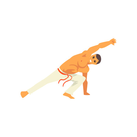 Male Dancer Fighter Character Practicing Capoeira, Brazilian National Martial Art Vector Illustration on White Background