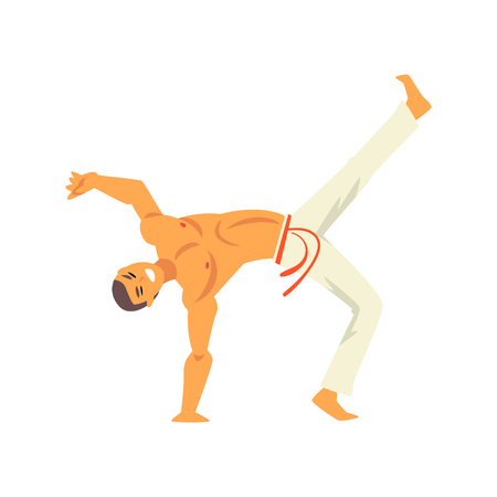 Capoeira Dancer Fighter Character Practicing Movement, Brazilian National Struggle Vector Illustration on White Background Vettoriali