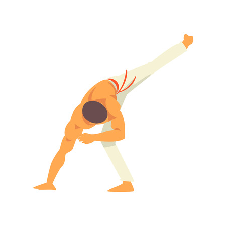 Male Capoeira Dancer Character Practicing Movement, Brazilian National Struggle Vector Illustration on White Background