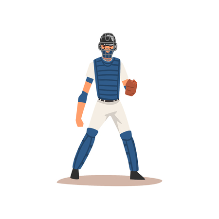Catcher Baseball Player Character in Uniform and Helmet Vector Illustration on White Background