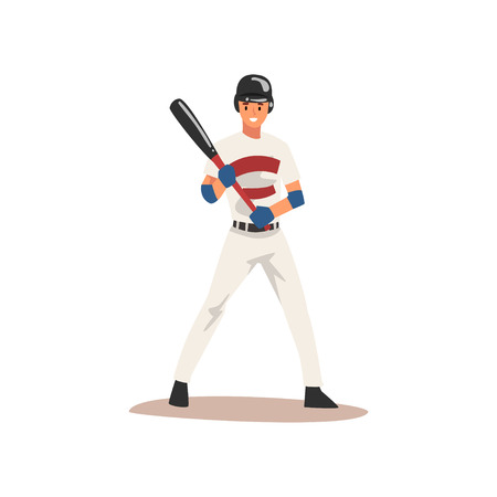 Baseball Player Standing with Bat, Softball Athlete Character in Uniform, Front View Vector Illustration on White Background Illustration