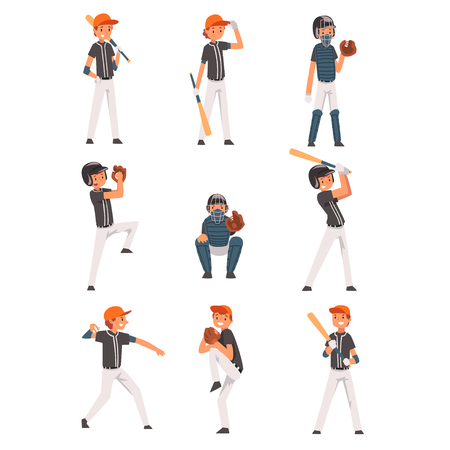Baseball Players set, Softball Athletes Characters in Uniform, Team Game Sports Vector Illustration on White Background