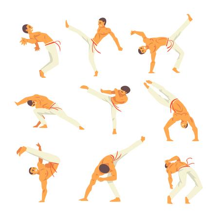 Male Capoeira Dancer Character Showing His Skills Set, Brazilian National Martial Art Vector Illustration on White Background Foto de archivo - 125733476
