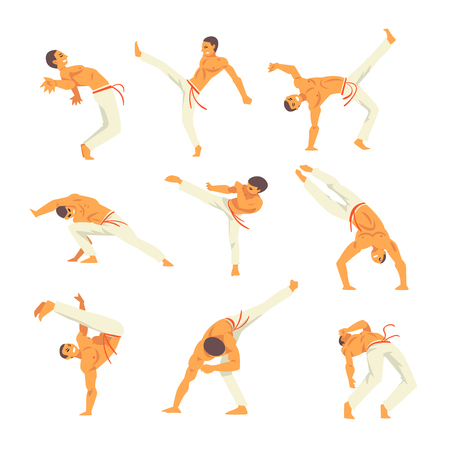 Male Capoeira Dancer Character Showing His Skills Set, Brazilian National Martial Art Vector Illustration on White Background Illustration