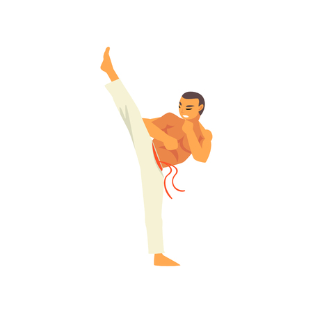 Male Fighter Character Practicing Capoeira, Brazilian National Struggle Vector Illustration on White Background