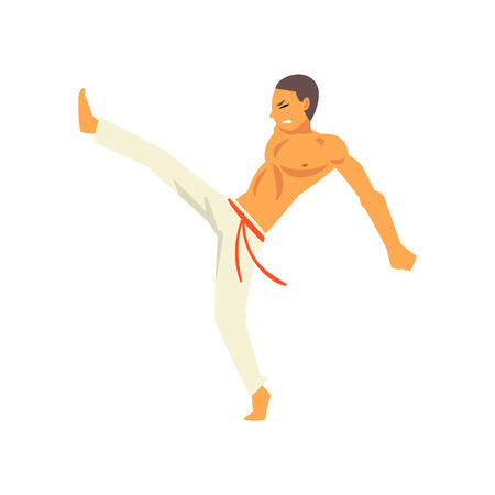 Young Man Fighting, Capoeira Fighter Character Practicing Movement, Brazilian National Martial Art Vector Illustration