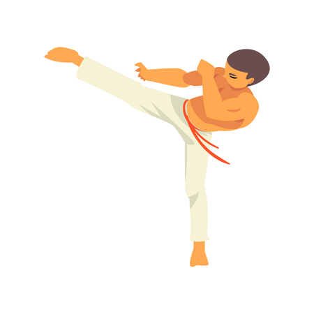 Capoeira Dancer Character Doing Powerful Kick, Brazilian National Martial Art Vector Illustration on White Background
