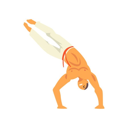 Smiling Man Standing on His Hands, Capoeira Dancer Character Practicing Movement, Brazilian National Martial Art Vector Illustration on White Background