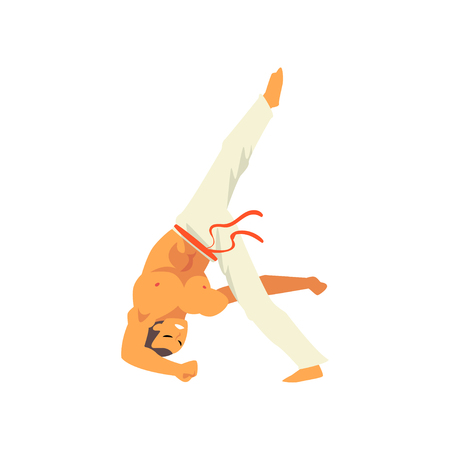 Male Dancer Fighter Character Practicing Capoeira, Brazilian National Struggle Vector Illustration on White Background
