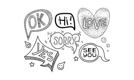 Collection of hand drawn speech bubbles of different shapes. Dialog clouds with text - Ok, Yes, See you, Sorry. Comic vector icons. Illustrations in sketch style isolated on white background. Ilustração
