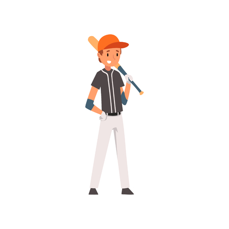 Baseball Player with Bat on His Shoulder, Softball Athlete Character in Uniform Vector Illustration on White Background 版權商用圖片 - 125733487