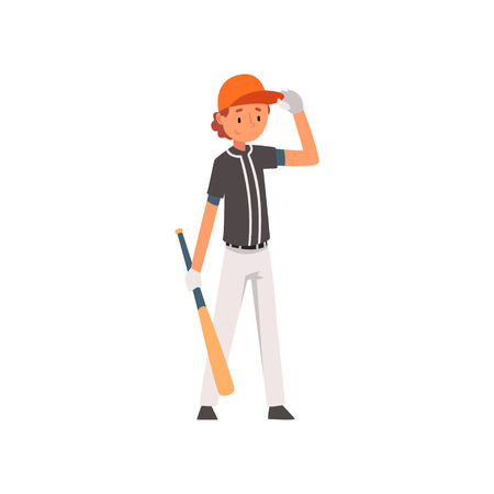 Baseball Player Standing with Bat, Softball Athlete Character in Uniform Vector Illustration on White Background 일러스트