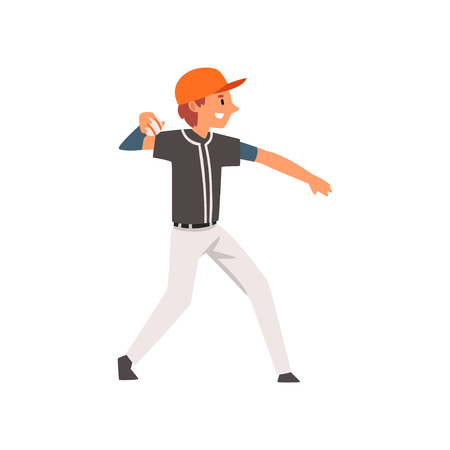 Baseball Player Throwing Ball, Softball Athlete Character in Uniform Vector Illustration on White Background