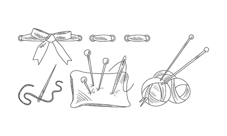 Hand drawn icons related to sewing and knitting theme. Pillow with needles, yarn of woolen threads. Dressmaking and needlework theme. Vector illustrations in sketch style isolated on white background. Illustration