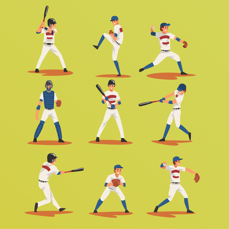 Baseball Players In Different Poses set, Softball Male Athletes Characters in Uniform Vector Illustration on Yellow Green Background Illustration