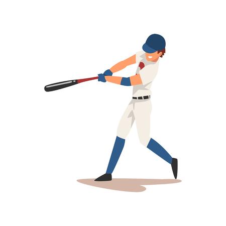 Baseball Player Swinging Bat, Softball Athlete Character in Uniform Vector Illustration on White Background