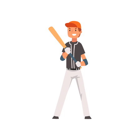 Smiling Baseball Player Standing with Bat and Ball, Softball Athlete Character in Uniform Vector Illustration on White Background 版權商用圖片 - 125733497