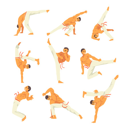 Male Capoeira Dancer or Fighter Character Practicing Movements Set, Brazilian National Struggle Vector Illustration on White Background